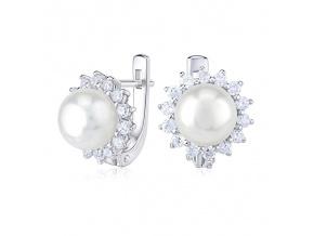 Stříbrné náušnice s přírodní bílou perlou