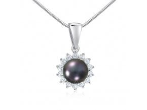 Stříbrný přívěsek s přírodní černou perlou v barvě Tahiti