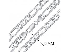 Stříbrný masivní řetěz Figaro pro muže 9mm - rhodiovaný