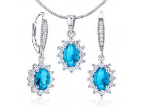 Dárková souprava stříbrných šperků - náušnice a přívěsek se syntetickým topazem