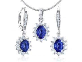 Dárková souprava stříbrných šperků - náušnice a přívěsek se syntetickým safírem