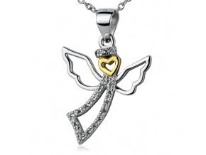 Stříbrný náhrdelník anděl se zirkony