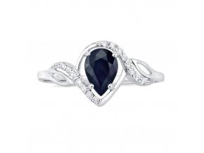 Stříbrný prsten AYNE s pravým Safírem