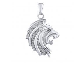 Přívěsek hlava lva ze stříbra s micro zirkonia