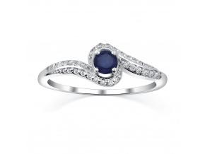 Stříbrný prsten IDONEA s přírodním safírem