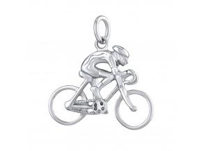 Stříbrný přívěsek cyklista