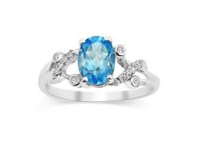 Stříbrný decentní prsten s modrým Topazem