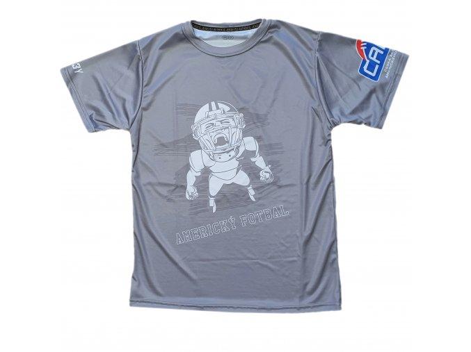 triko Americký fotbal šedá front