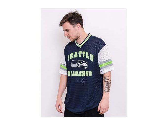 Triko New Era NFL Stripe Sleeve Oversized Tee Seattle Seahawks Oceanside Blue