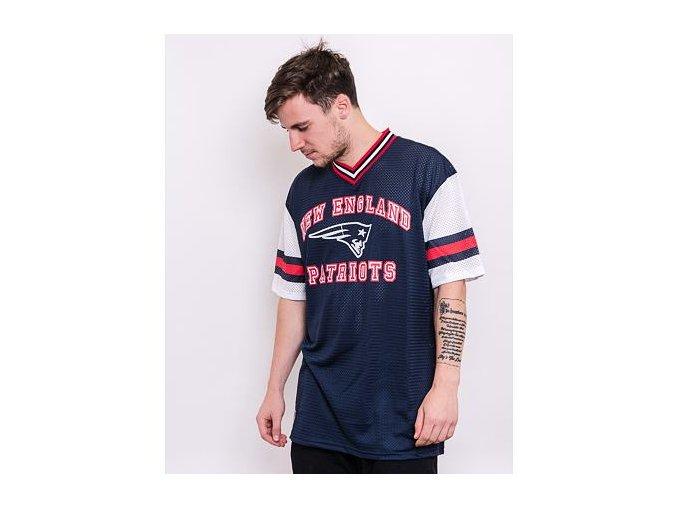 Triko New Era NFL Stripe Sleeve Oversized Tee New England Patriots Oceanside Blue
