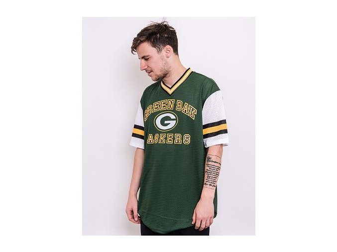Triko New Era NFL Stripe Sleeve Oversized Tee Green Bay Packers Cilantro Green