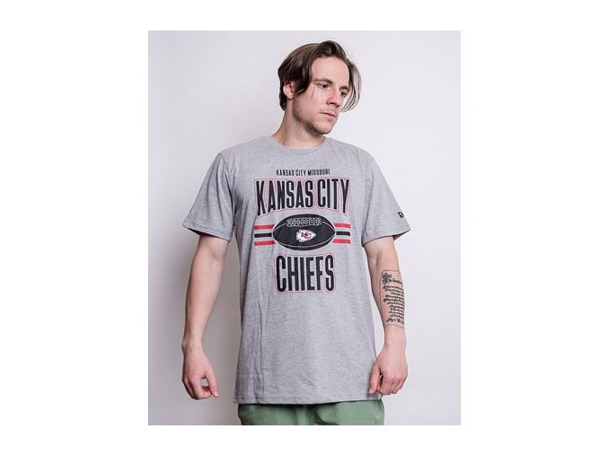 Triko New Era NFL Football Kansas City Chiefs Light Grey Heather