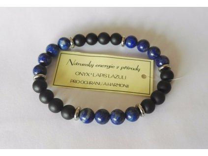 Náramek lazurit, lapis lazuli, ochranný náramek onyx