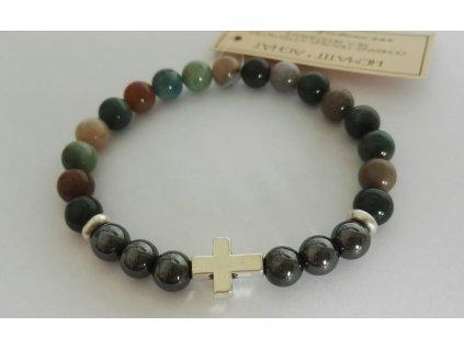pánský energetický náramek z kamenů s křížkem