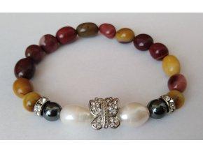 Náramek perly, jaspis, hematit, náramek motýlek