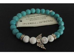 náramek korálky, modrý náramek, náramek křídla, andělský náramek