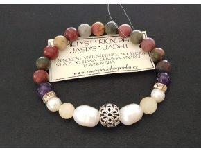 perlový náramek, náramek jaspis, říční perly, ametyst