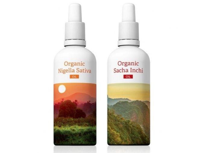 Terapeutické oleje Organic Nigella Sativa a Organic Sacha Inchi akční sety