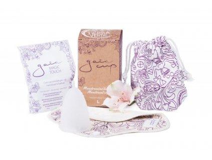 Gaia Cup Menstruační kalíšek - velký - balení včetně slipové vložky a čističe