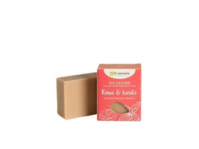 laSaponaria Tuhé olivové mýdlo BIO - Růžový olej a bambucké máslo (100 g)