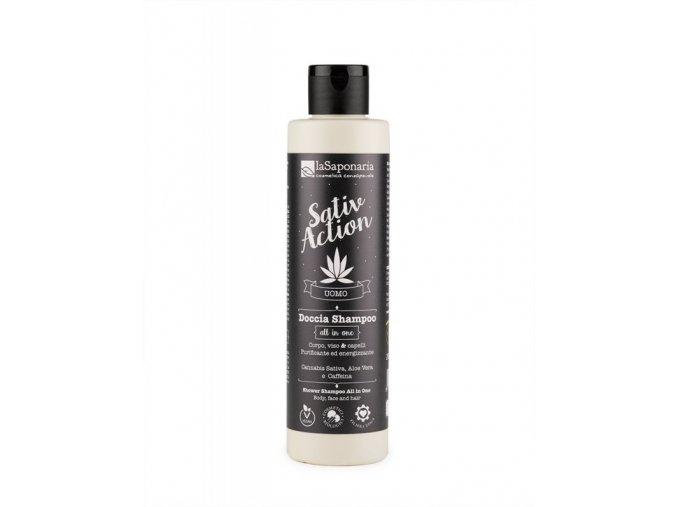 laSaponaria Pánský sprchový gel a šampon s konopím 2v1 BIO (200 ml)