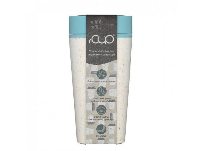 rCUP (340 ml) - krémová/tyrkysová - z jednorázových papírových kelímků