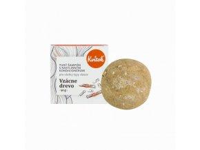 Kvitok Tuhý šampon s kondicionérem pro tmavé vl. Vzácné dřevo XXL (50 g) - krásně pění