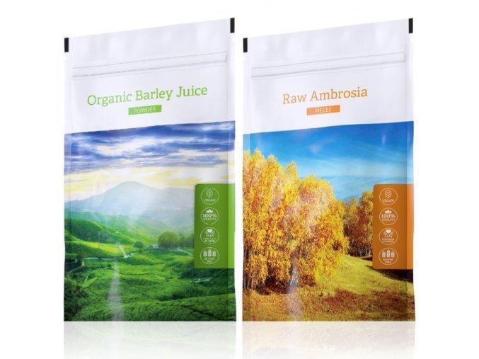 Raw Ambrosia pieces a Barley juice powder od Energy