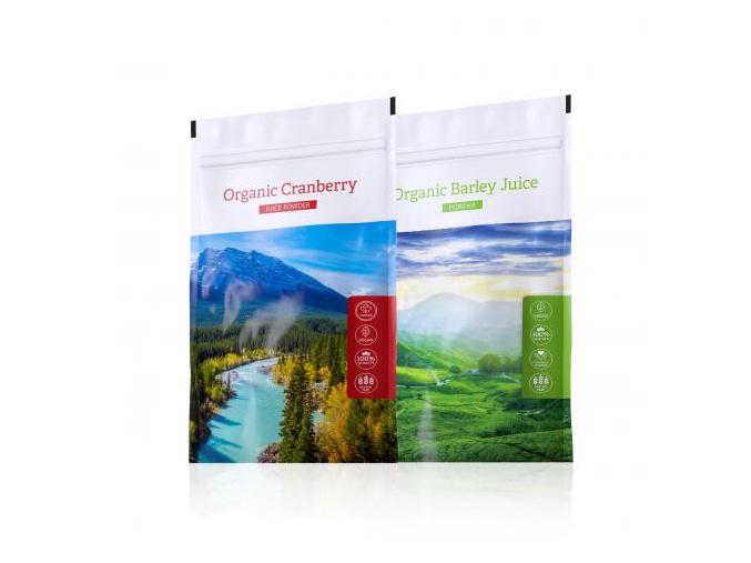 Barley Juice powder a nápoj z kanadské brusinky Organic Cranberry Juice powder od Energy