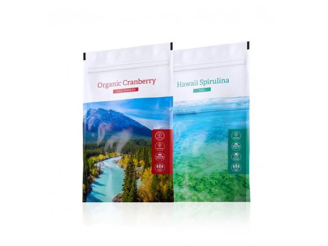 Hawaii Spirulina tabs a nápoj z kanadské brusinky Organic Cranberry Juice powder od Energy