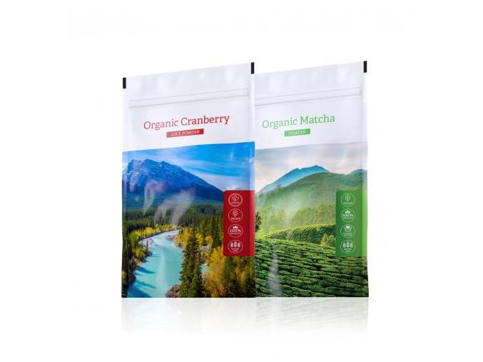 Organic Matcha powder a nápoj z kanadské brusinky Organic Cranberry Juice powder od Energy