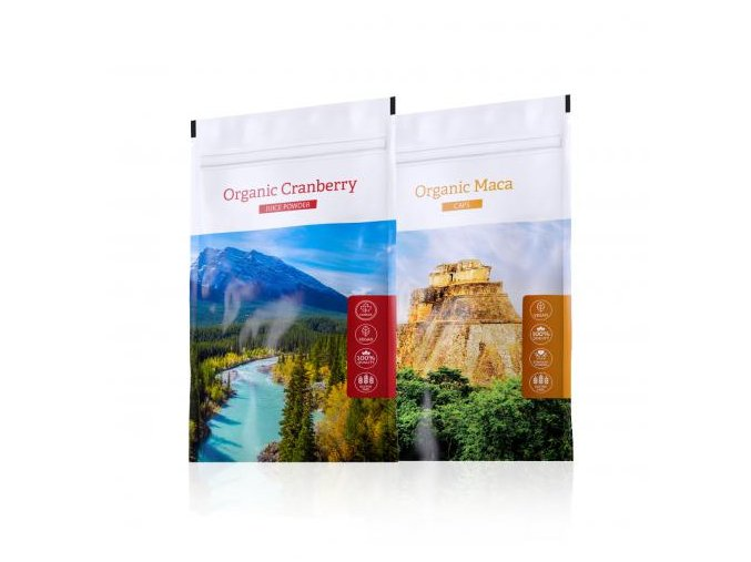 Organic Maca tabs a nápoj z kanadské brusinky Organic Cranberry juice powder od Energy