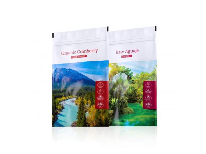 Raw Aguaje tabs a nápoj z kanadské brusinky Organic Cranberry Juice powder od Energy