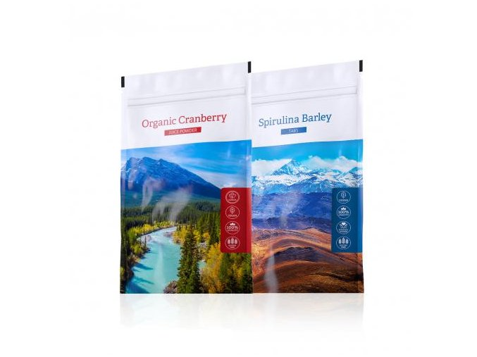 Spirulina Barley tabs a nápoj z kanadské brusinky Organic Cranberry Juice powder od Energy