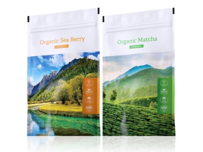 Organic Sea Berry powder a zelený čaj Organic Matcha powder od Energy