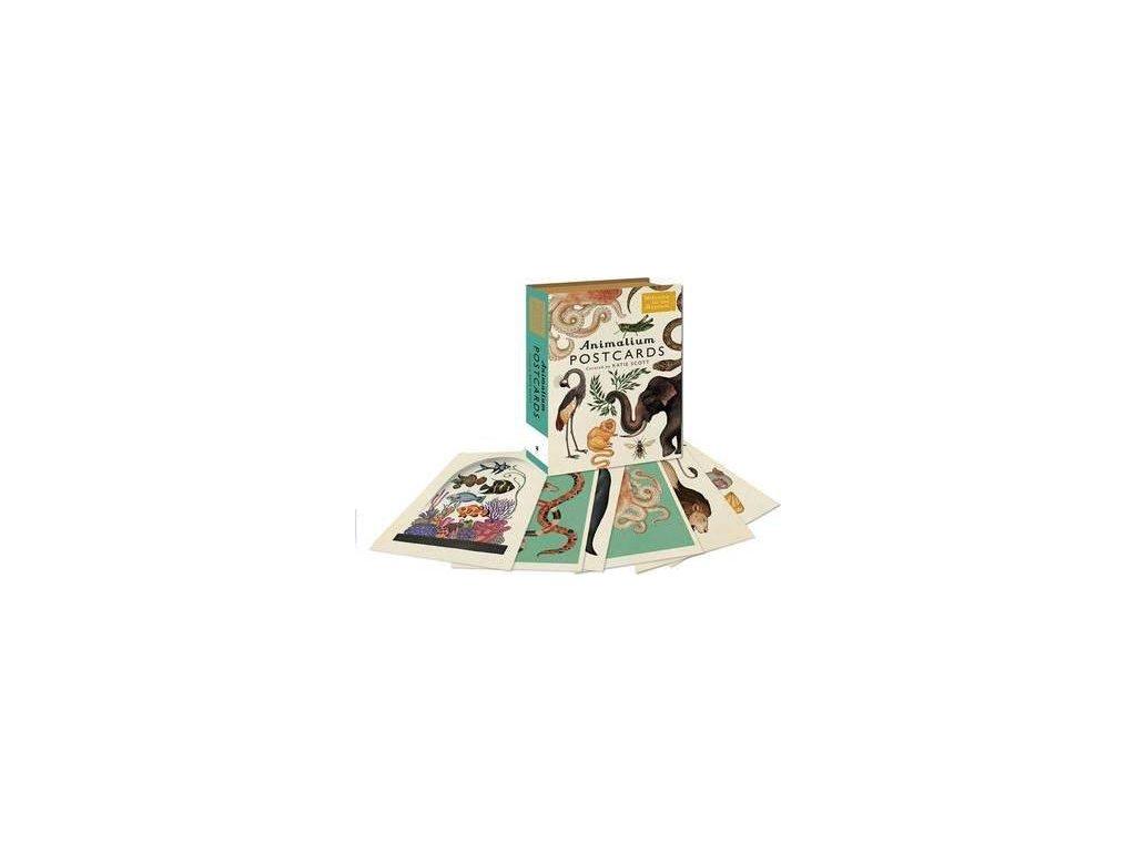 3975 postcard animalium botanicum 5pce set