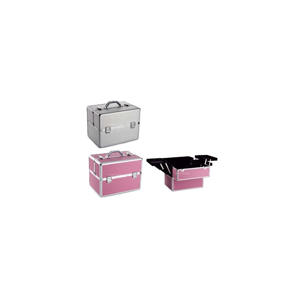 Cosmetic case pink silver 28 x 25 x 37