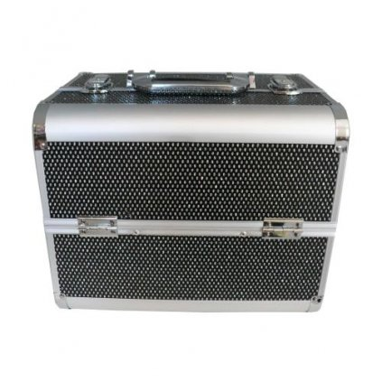 Cosmetic case pink silver black 26 x 23 x 32