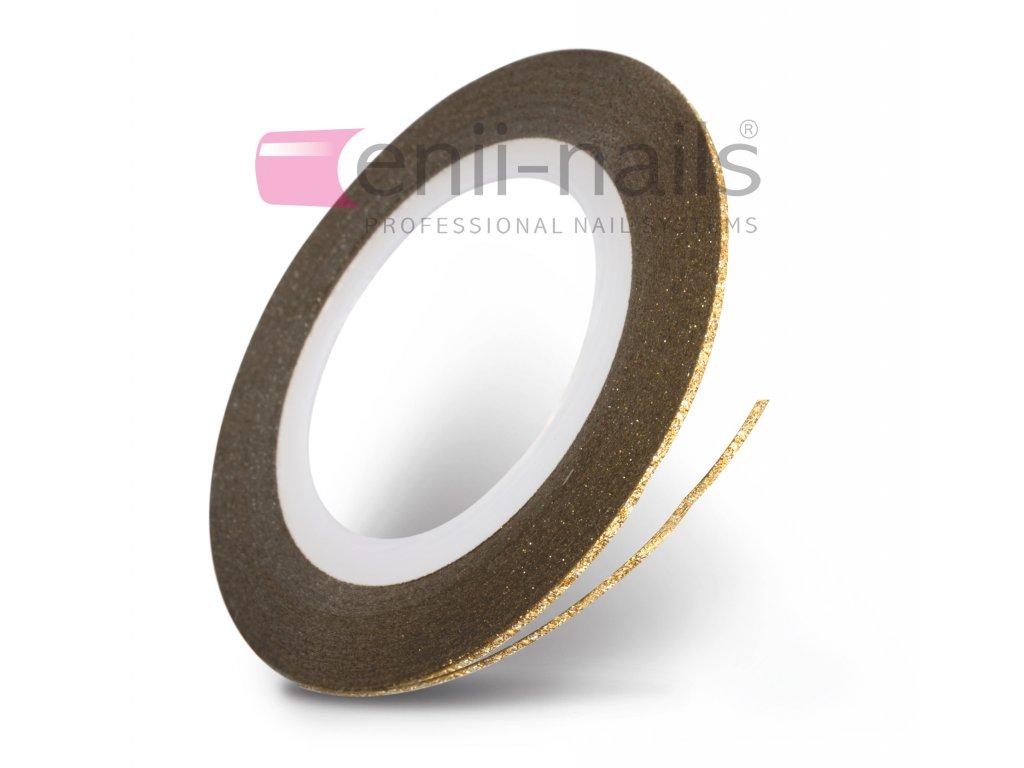 Nail art glitrová páska - zlatá, 1 mm