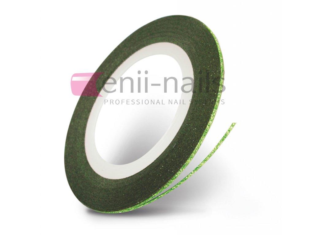Nail art glitrová páska - zelená, 1 mm