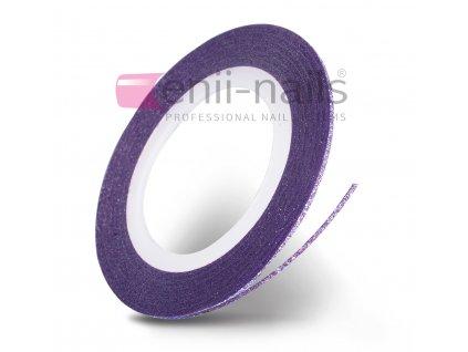 Nail art glitrová páska - fialová, 1 mm