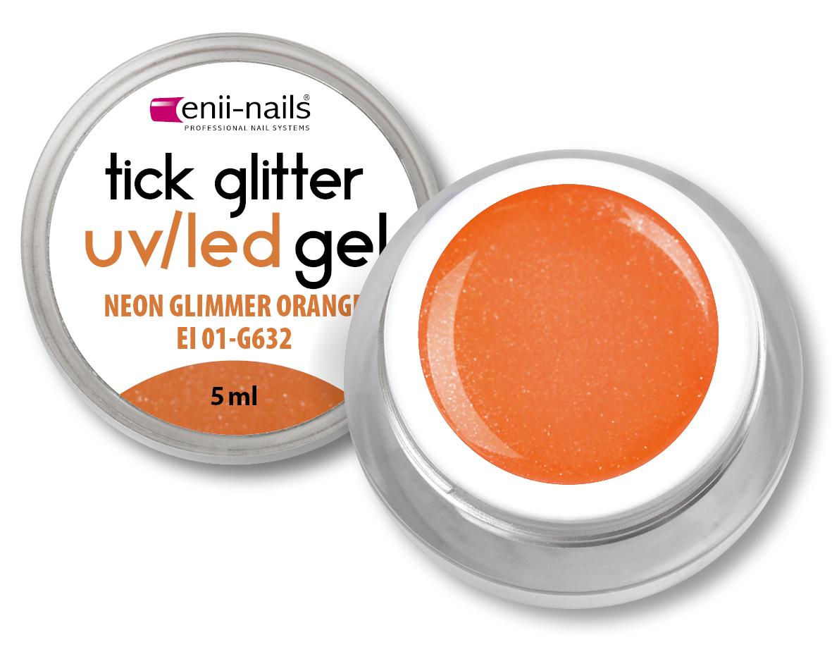 ENII-NAILS Glitrový UV gel - NEON GLIMMER ORANGE 5 ml