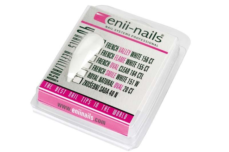 ENII-NAILS French almond white 40 ks - zkušební sada