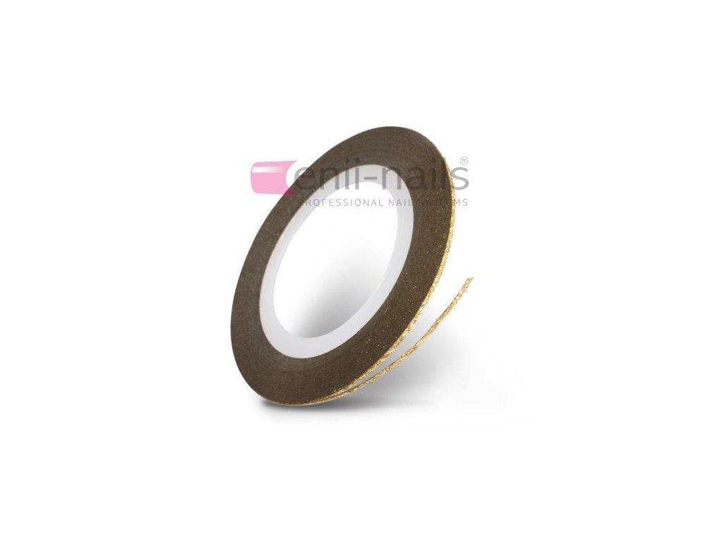 Nail art flitrová páska - zlatá, 1mm
