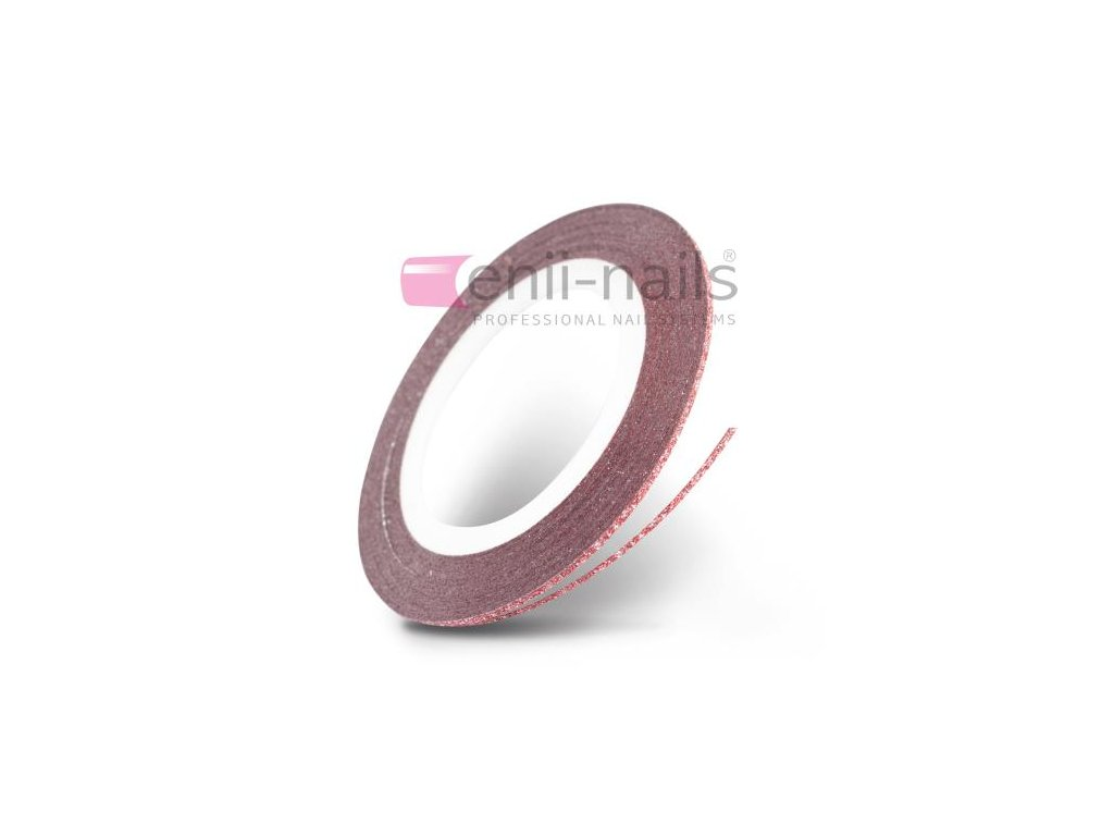 Nail art flitrová páska - červená, 1mm