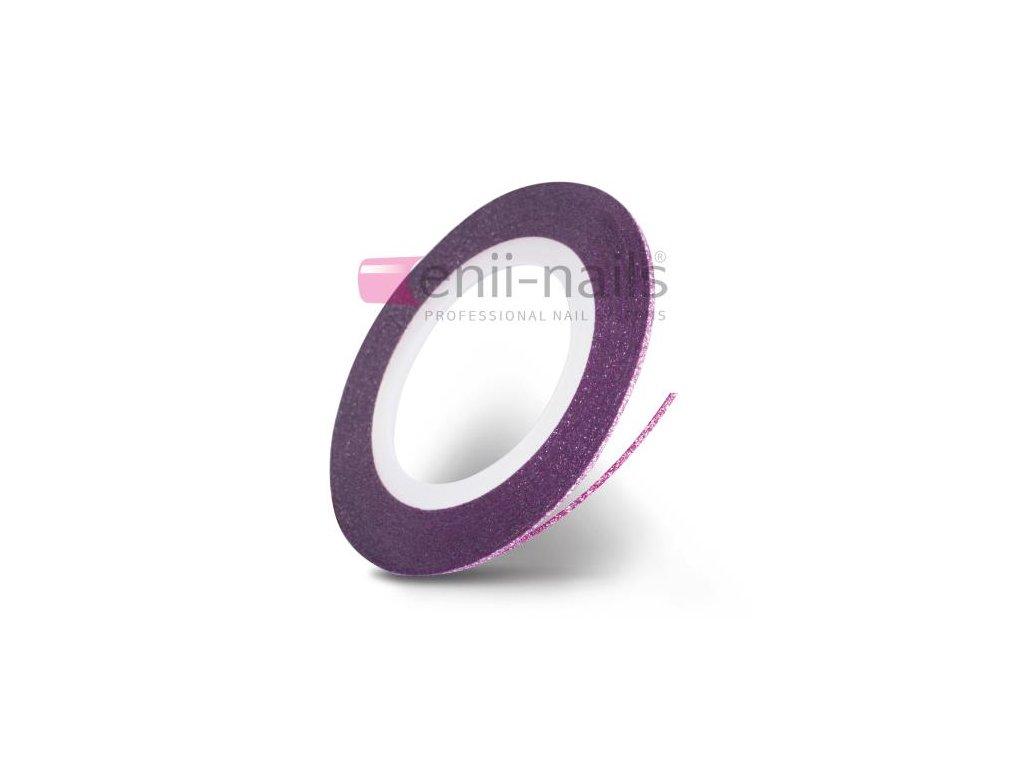 Nail art flitrová páska - ružová, 1mm