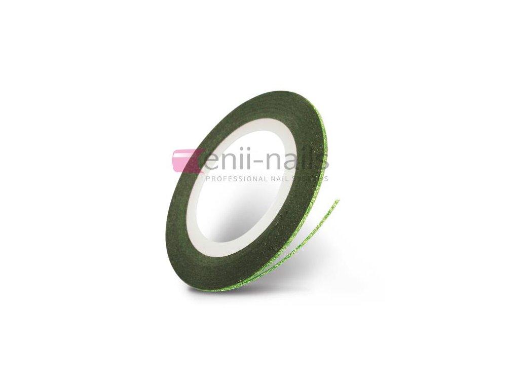 Nail art flitrová páska - zelená, 1mm