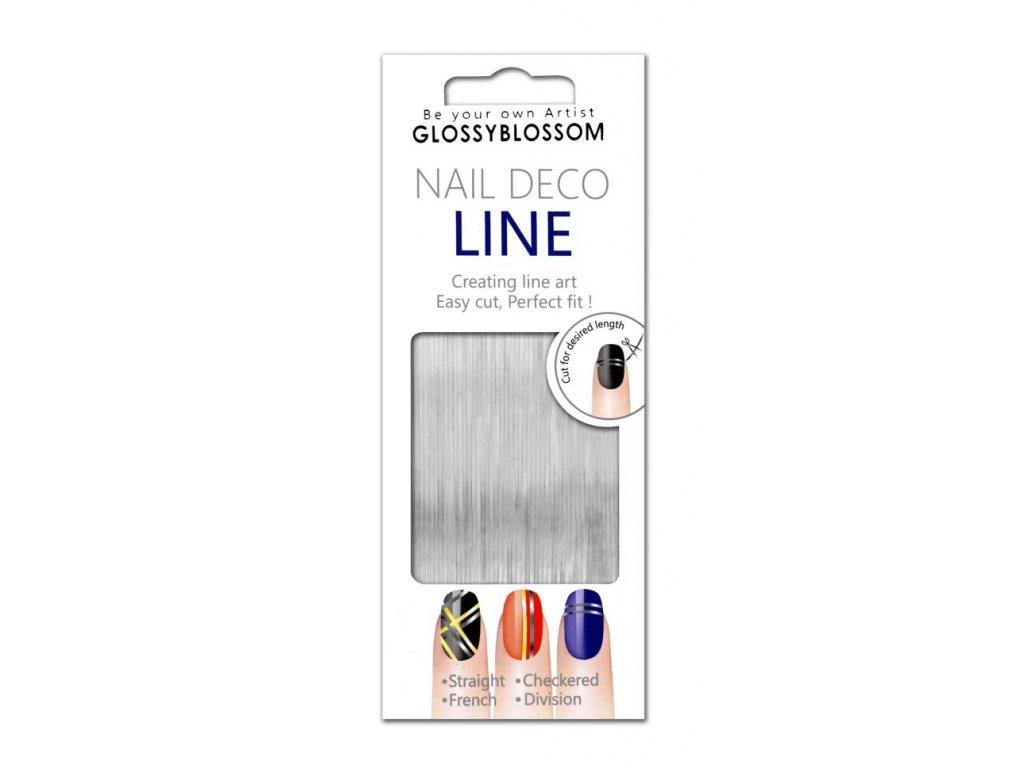 Nail art páska - stieborná, 1 mm