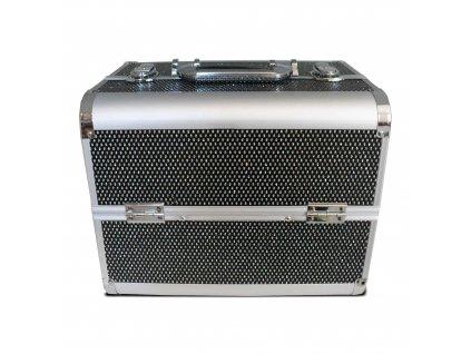 Kozmetický kufrík ružový, strieborný ,čierny (26x23x32)