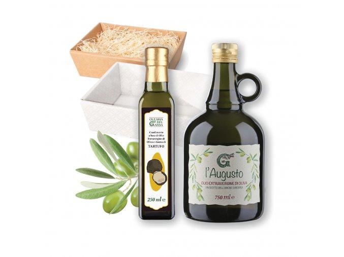 Dárkový balíček Olearia del Garda LANÝŽOVÝ Olivový olej ochucený Olivový olej extra panenský L'Augusto